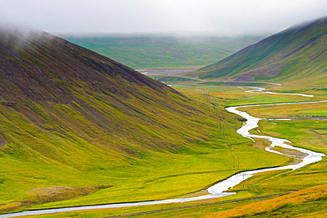 Valley and river. Iceland, Europe.