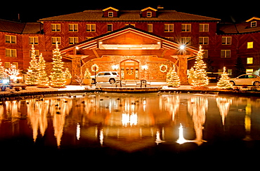 The Sun Valley Lodge with Christmas lights at Sun Valley Resort in the city of Sun Valley in central Idaho