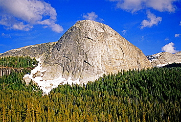 Yosemite, Fairview Dome a 900 foot tall formation that is home to classic rock climbs like the Regular Route, Grade 3, 5,9 and Lucky Streaks, Grade 3, 5,10 located in Tuolumne Meadows at Yosemite National Park in California.