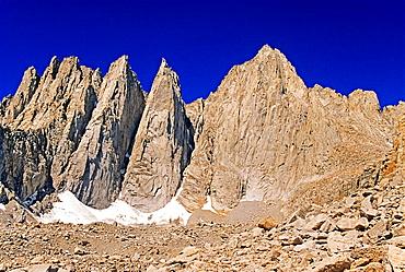 Sierra Nevada Mountains, Mount Whitney, Keeler Needle and Crooks Peak high in the Sierra Nevada Mountains in California.