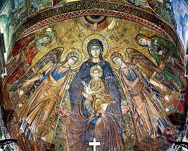 Mosaic in apse of Messina Cathedral, Messina, Sicily, Italy.