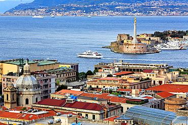 Cityscape and strait of Messina, Messina, Sicily, Italy.