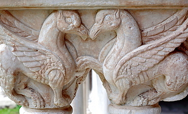 Capital column, Cloister of Cefalu Cathedral, Cefalu, Sicily, Italy.