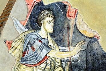 Annunciation of Zacharias fresco, Santa Sofia church (8th century), Benevento, Campania, Italy.