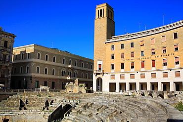 Roman theatre and INA Building, St. Oronzo square, Lecce, Apulia, Italy.