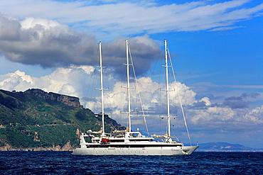 Sailing yacht, Amalfi Coast, Campania, Italy.