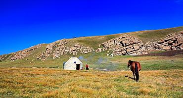 Nomads dwelling, Road to Song Kol lake, Naryn oblast, Kyrgyzstan.