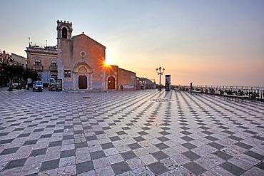 Piazza IX Aprile, Taormina and Sant'Agostino church, Sicily, Italy.