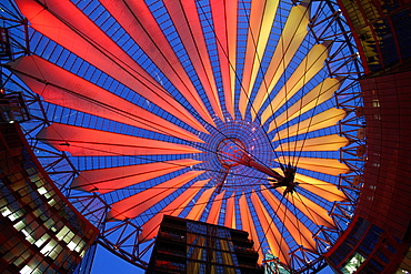 The modern Dome of the sony Center in Postdamer Platz, illuminated at the night, Berlin, Germany.