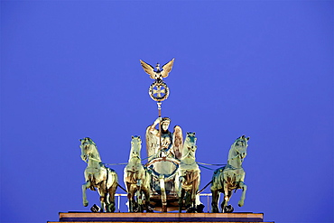 The Brandenburg Gate quadriga, Berlin, Germany.