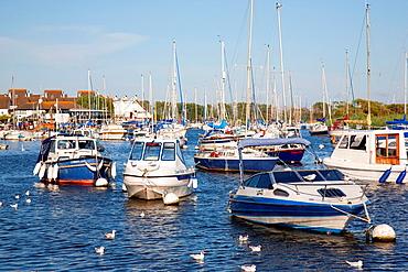 Boats on River Stour, Christchurch, Dorset, England, UK.