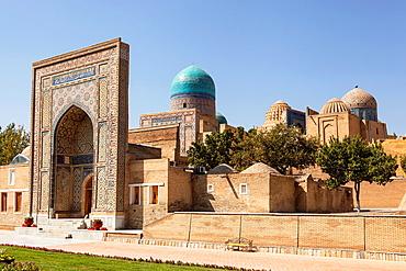 Entrance to Shah-i-Zinda, also known as Shah I Zinda and Shah-i Zinda, Samarkand, Uzbekistan.