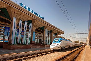 Afrosiyob Samarkand to Tashkent fast train, Samarqand railway station, Samarkand, Uzbekistan.