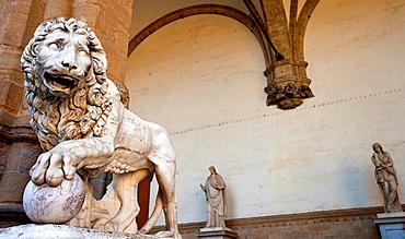 The Medici lion or Vacca¥s lion in Loggia dei Lanzi, Piazza della Signoria, Florence, Tuscany, Italy, Europe.