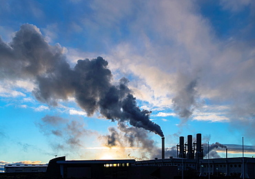 Power plant smoke in Reyjanesta geothermal area, Southern Iceland.