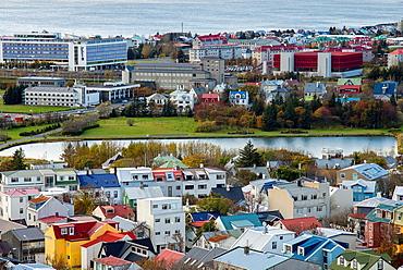 Aerieal views of Reykjavik city centre from Hallgrimskirkja Cathedral tower view point, Reykjavik, Iceland.