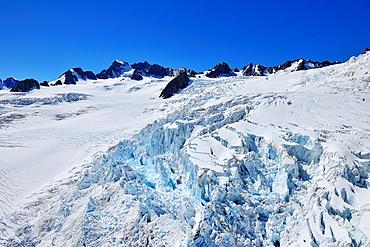 Glacier Crevasse, Franz Josef Glacier, Westland National Park, Southern Alps, West Coast, South Island, New Zealand.