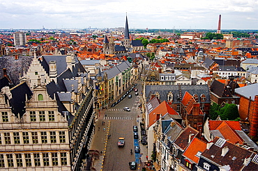 From the top of the belfry, a view of Ghent, Belgium.