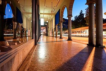Walkway in blue hour in locarno ticino switzerland.