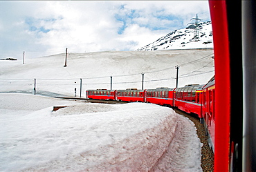 famous Bernina express train recorded in the list of UNESCO World Heritage for the beauty of the route, it is also highest adhesion railway of the continent, and one of the steepest adhesion railways in the world, Grisons canton, Switzerland, Europe.