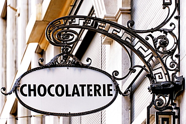 old fashioned sign of chocolate shop in Geneva, Switzerland