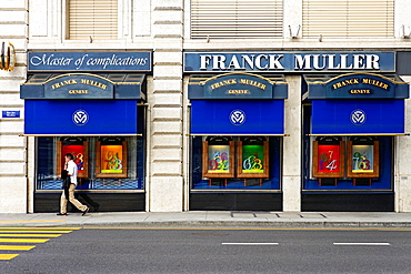 Boutique window of Franck Muller watches, famous Swiss watchmaker from Geneva, Geneva, Switzerland