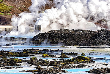 in background - Svartsenga Geo-Thermal Station, in front - Blue Lagoon mineral hot springs, close to Keflavik, Iceland, Polar Regions.