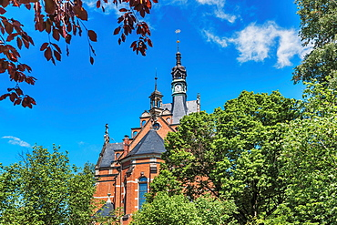 The Luther Church in Radebeul east was built from 1891 to 1892. The church spire is 68 meters high, Radebeul near Dresden, administrative district Meissen, Saxony, Germany, Europe.