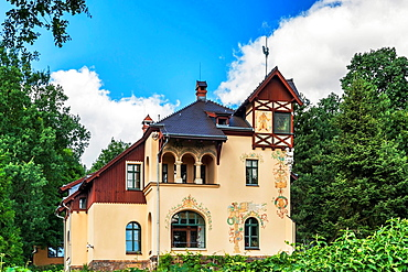 The villa Oswald Haenel is a listed villa. The house was built from 1894 to 1895. It is located in the Weinbergstrasse 40 in Radebeul near Dresden, administrative district Meissen, Saxony, Germany, Europe.