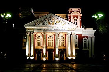 Ivan Vazov national theatre illuminated at night. Sofia, Bulgaria.