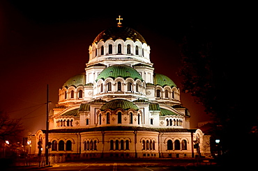 Alexander Nevsky cathedral illuminated at night. Sofia, Bulgaria.