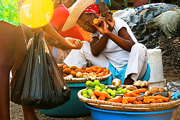 A Haitian woman sells vegetables on the street market in Port-au-Prince, Haiti, 8 July 2008.