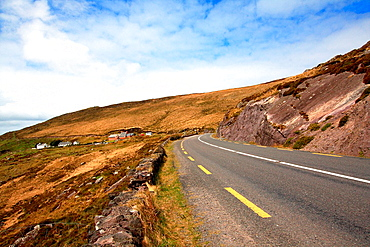 A rural road in Ring of Kerry, Killarney, National Park in Ireland, Europe.