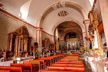 Interior of the Precious Blood of Christ Church or Preciosa Sangre de Cristo Church in Teotitlan, Mexico.