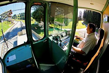 Cog railway connecting Villars with Bretaye station, from where will access the lake walk Chavonnes. Villars, Vaud, Switzerland, Europe.