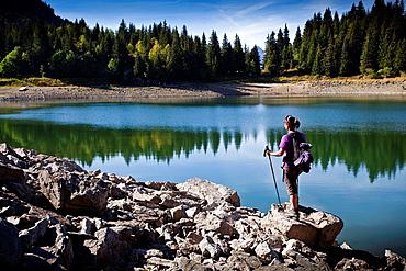 Walker Chavonnes lakeside. Villars, Vaud, Switzerland, Europe.