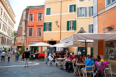 Kosher cafe in Via Portico d'Ottavia in the Roman Jewish ghetto district, Rome, Italy.