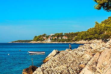 Coastline in Prizba village, Korcula island, Croatia.