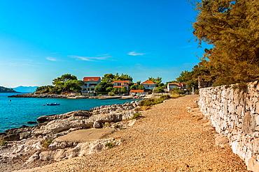 Pebble beach in Prizba village, Korcula island, Croatia.