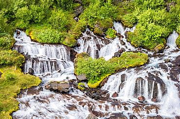 Hraunfosar waterfall, Borgarfjordur, Iceland.