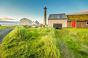 Summer house with lookout tower, Flatey Island, Borgarfjordur, Iceland.