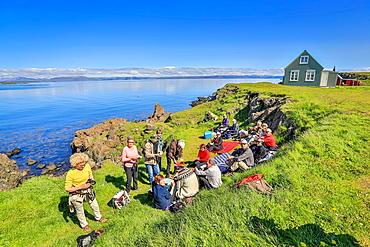 People enjoying a warm summer day on Flatey Island, Borgarfjordur, Iceland.