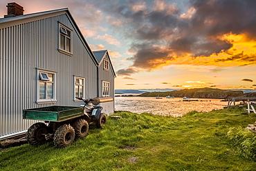 Midnight sunset, Flatey Island, Borgarfjordur, Iceland.