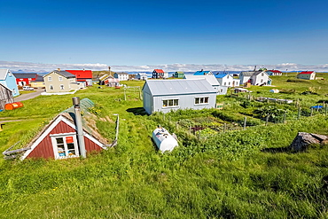 Summer houses, Flatey Island, Borgarfjordur, Iceland.