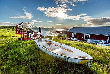 Small boat, Flatey Island, Borgarfjordur, Iceland.