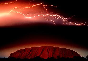 Lightning at Ayers Rock, Uluru-Kata Tjuta National Park, Northern Territory, Australia.