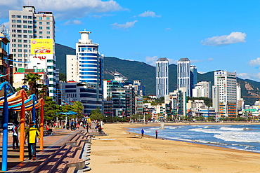 South Korea, Busan, Gwangalli Beach, skyline,.