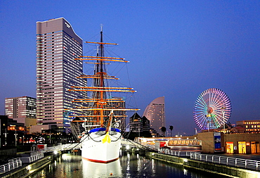 Japan, Yokohama, Minato Mirai, Nippon Maru ship, skyline,.