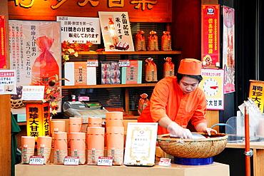 Japan, Yokohama, Chinatown, shop, counter, vendor,.