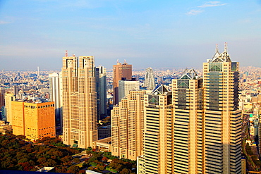 Japan, Tokyo, Shinjuku, skyline, skyscrapers, Metropolitan Government Building; Park Tower,.